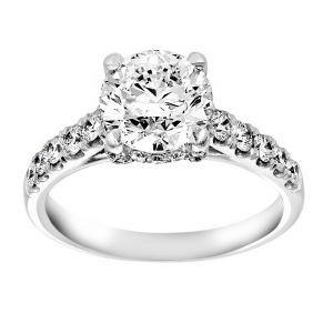 TWO by London Pave Diamond Round Solitaire Engagement Ring