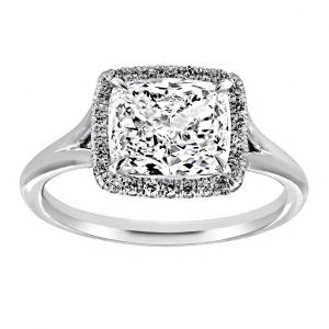 TWO by London Cushion Diamond Halo Split Shank