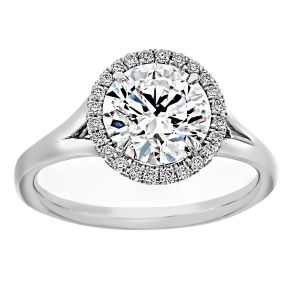 TWO by London Round Diamond Halo Split Prong Engagement Ring