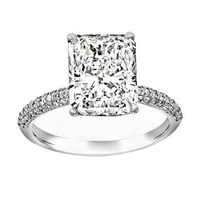TWO by London Radiant Diamond Three Row Pave Engagement Ring
