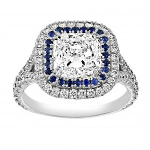 TWO by London Radiant Diamond Blue Sapphire Halo Ring