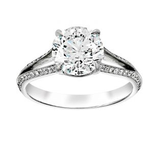 TWO by London Round Diamond Knife Edge Pave Split Shank Engagement Ring