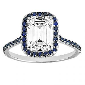 TWO by London Emerald Cut Diamond and Sapphire Engagement Ring