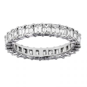 TWO by London Emerald Cut Diamond Shared Prong Eternity Band
