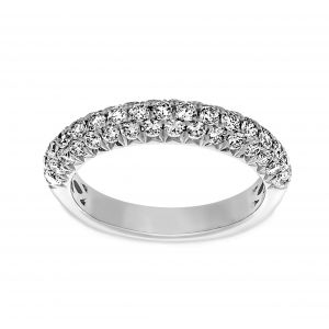 Henri Daussi Three Row Rounded Pave Diamond Wedding Band
