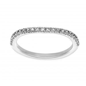 Henri Daussi Half Way Around Pave Diamond Wave Wedding Band