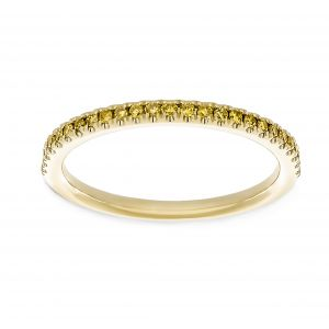 Henri Daussi Half Way Around Yellow Pave Diamond Wedding Band