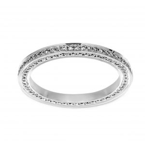 Henri Daussi Pave Diamond Three Sided Eternity Band