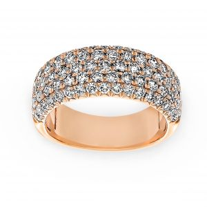 Henri Daussi Five Row Light Pink Diamond Wedding Band
