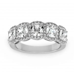 Henri Daussi Five Stone Cushion Diamond Halo Wedding Band