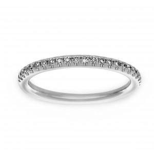 Henri Daussi Diamond Pave Half Wedding Band