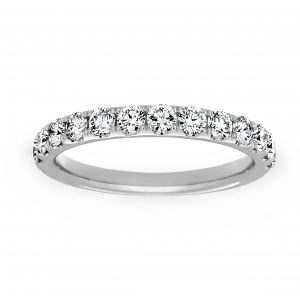 Henri Daussi Pave Diamond Half Around Wedding Band