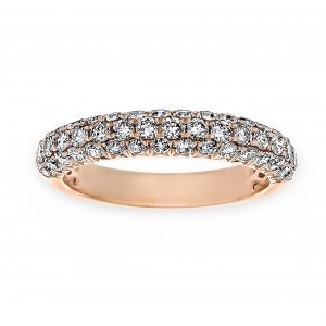 Henri Daussi Three Row Pave Light Pink Diamond Wedding Band