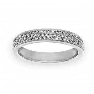 Henri Daussi Three Row Pave Diamond Channel Wedding Band