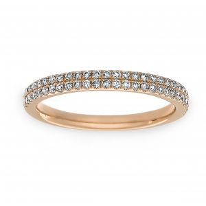 Henri Daussi Two Row Pave Diamond Wedding Band
