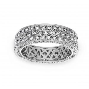 Henri Daussi Three Row Pave Diamond Flat Eternity Band