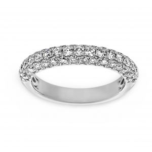 Henri Daussi Three Row Pave Diamond Band