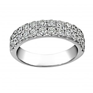 Henri Daussi Double Row Pave Diamond Wedding Band
