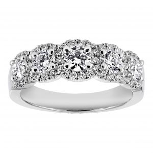 Henri Daussi Five Stone Round Diamond Halo Band