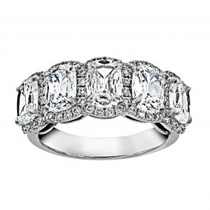 Henri Daussi Five Stone Cushion Halo Wedding Band