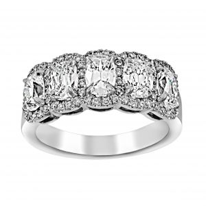 Henri Daussi Five Stone Oval Diamond Halo Wedding Band