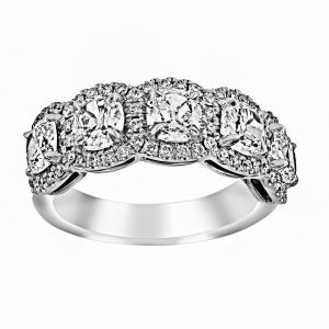 Henri Daussi Five Cushion Diamond Pave Halo Band