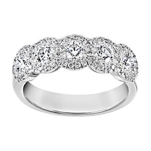 TWO by London Five Stone Diamond Pave Halo Wedding Band