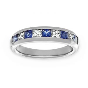 TWO by London Blue Sapphire And Princess Diamond Wedding Band