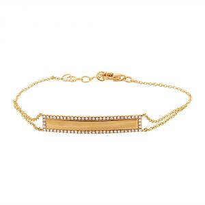 TWO by London 14k Gold Diamond I.D. Bar Bracelet