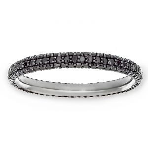 TWO by London Three Row Black Diamond Pave Eternity Band