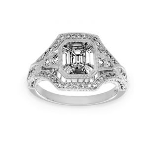 TWO by London Emerald Cut Mixed Diamond Halo Engagement Ring