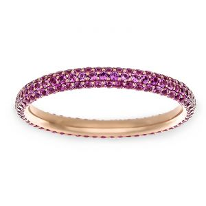 TWO by London Three Row Pink Sapphire Pave Eternity Band