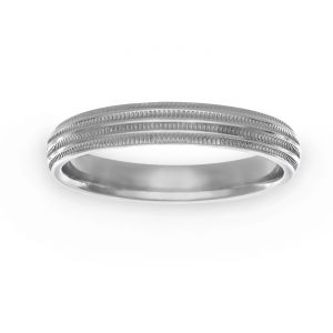 TWO by London 3mm Comfort Fit Double Milgrain Wedding Band