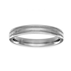 TWO by London 3mm Flat Double Milgrain Wedding Band
