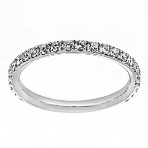 Henri Daussi Pave Diamond Prongset Wedding Band
