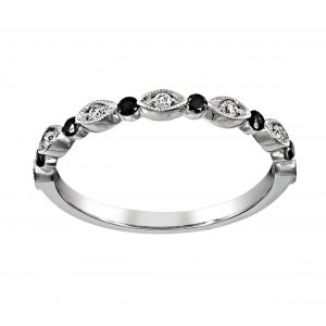 Henri Daussi White and Black Diamond Alternating Wedding Band