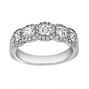 Henri Daussi Five Stone Round Diamond Halo Wedding Band