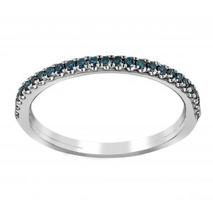 Henri Daussi Blue Diamond Pave Wedding Band