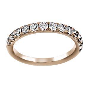 Henri Daussi Four Prong Round Diamond Wedding Band