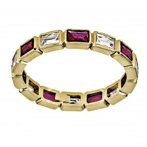 Single Stone Julia Ruby And Diamond Eternity Band