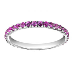 TWO by London Micropave Round Pink Sapphire Eternity Band