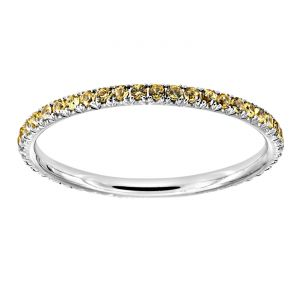 TWO by London Four Prong Micropave Yellow Sapphire Eternity Band