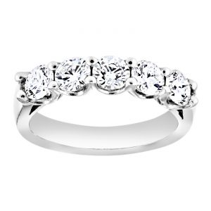 TWO by London Five Stone Shared Prong Wedding Band