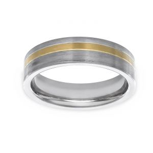 TWO by London Two Tone Flat Off Center Yellow Stripe Wedding Band