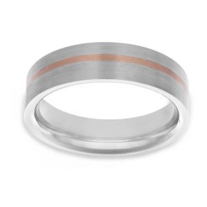 TWO by London Two Tone Flat Off Center Rose Stripe Wedding Band