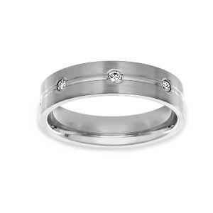 Benchmark Engraved Diamond Wedding Band