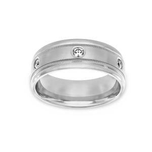 Benchmark Etched Diamond Wedding Band