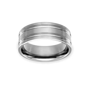 Benchmark 8mm Double Groove Wedding Band
