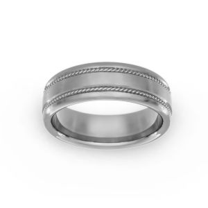Benchmark Double Rope Satin Finish Wedding Band