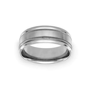Benchmark 8mm Double Milgrain Wedding Band